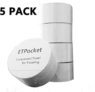 ETPocket Compressed Towel for Travel Pure Cotton Undyed Durable Reusable Absorbent Quick-Drying Washcloth for Camping Sports Businesstrip