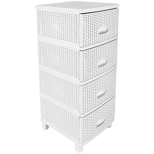 Unbekannt Rattan Kommode mit 4 Schubladen weiß Rattanmöbel Regal Kunststoff