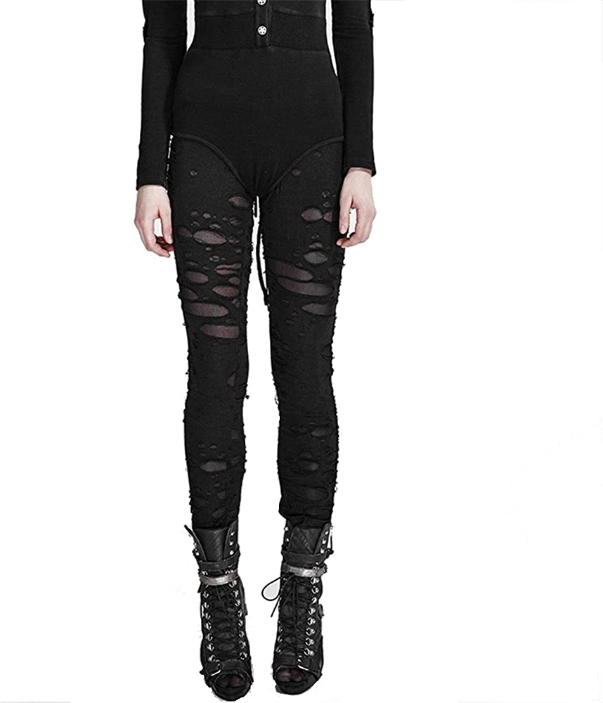 Sale item PUNK Women Stretch Leggings Hole Pants Rock Oklahoma City Mall Sexy Tights Fashion