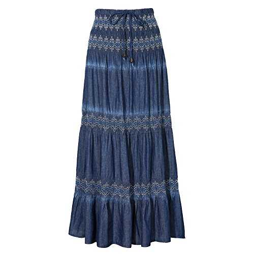 DREFBUFY Maxi Skirt Womens High Waist Pleated Tiered Long Skirts, Denim Look with Elastic Waistband, Casual Style Midi Dress for Women, Multi Wearing Styles (Blue16, Small)