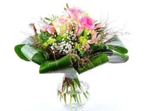 Blumenversand - exklusiver Blumenstrauß - zum Geburtstag - Esperance - mit rosa Rosen Esperance mit Grußkarte deutschlandweit versenden