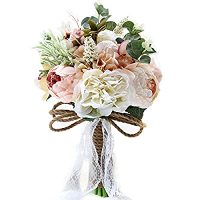 Pauwer Artificial Peony Rose Flower Bouquet for Bride Bridesmaid Handmade Wedding Bouquet Silk Bridal Bouquet Holding Flower