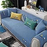 Fsogasilttlv Antideslizante Protector Cubierta de Muebles Azul 110 * 160 cm, Funda de sofá de Chenilla Bordada de Color sólido para salón, Funda de Toalla de cojín de sofá Universal