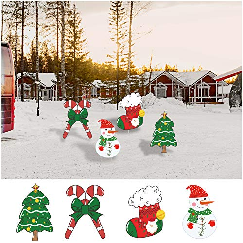 Alimtois Christmas Decorations Outdoor Yard Signs Outdoor Peppermint Xmas Yard Stakes Holiday Decor Signs Home Lawn Stakes Decor 4pcs