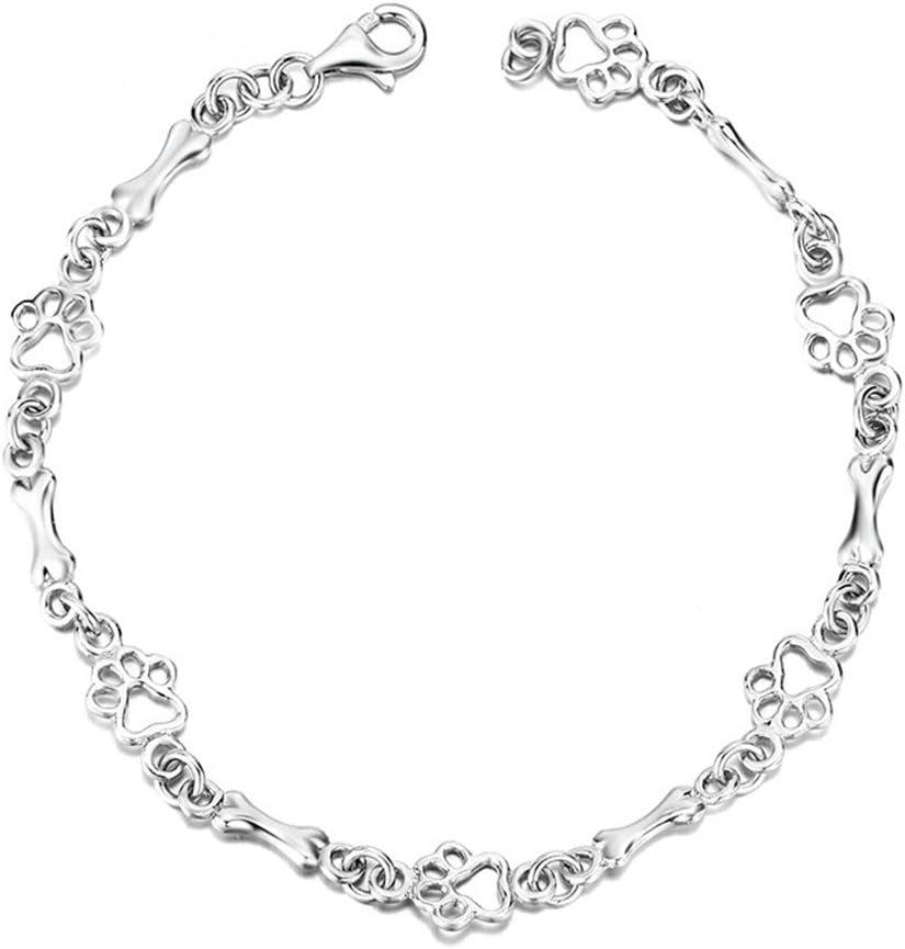 925 Sterling Silver Dog Bone and Paw Print Link Charm Bracelet f