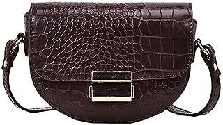 TOOGOO Crocodile Pattern Vintage Leather Crossbody Bags Small Purses and Handbags Ladies Shoulder Messenger Bag Black