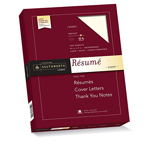 Southworth 100% Cotton Resume Paper, ivory, 8 1/2 in x 11 in (SOURD18ICF)