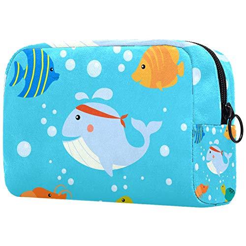 Reise Kulturtasche Turtles Shrimps Ocean Make-Up Taschen Sanfte Berührung Organizer Multifunktions Fall mit Reißverschluss Kulturbeutel für Frauen 18.5x7.5x13cm