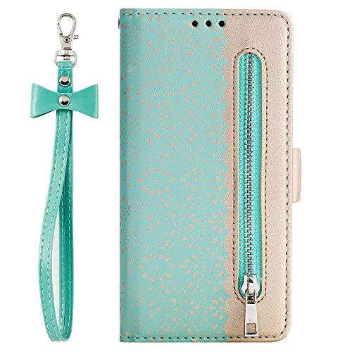 Preisvergleich Produktbild i-Case Flip Case für Samsung Galaxy A50 Brieftasche Weibliche Handytasche Kartenfach Tasche Etui Schutzhülle Hülle Durchsichtig Innere Hohle Blatt Design Handyhülle für Galaxy A50s Grün