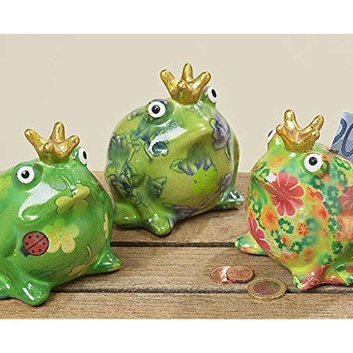 Spardose Froschkönig H10 grün Terrakotta sortiert - Preis pro 1 Stück
