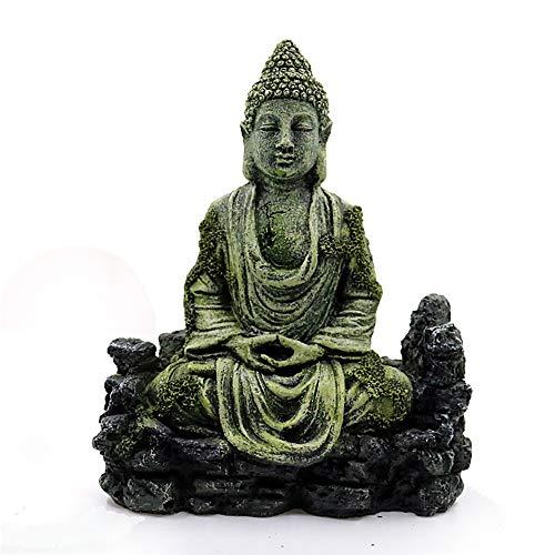 WAZA Decoración de Acuario con Plantas Verdes Artificiales Adorno para Acuario de Resina Antigua Estatua de Buda en Zen para...
