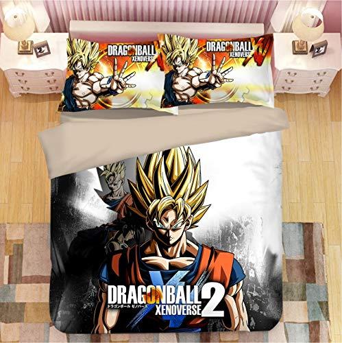 3 Stück Bettbezug Anime Dragon Ball Quilt Cover mit Reißverschluss, 3 Stück (1 Bettbezug + 2 Kissenbezüge), super weiche 3D-gedruckte Bettdecke Bettwäsche-Set
