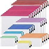 EOOUT 30pcs Mesh Zipper Pouch, Zipper Bag, 8 Size Waterproof Plastic Document Pouch, 8 Colors, Multipurpose for School Supplies Office Appliances, Home, Travel Storage