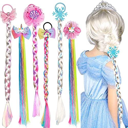 Vamei 6 Piezas Pelucas Niña Princesa Peluca Rapunzel Elsa Arcoiris Unicornio Peluca Extensiones de Trenzas de Cabello Fiesta Cumpleaños Disfraz Accesorios Pelo