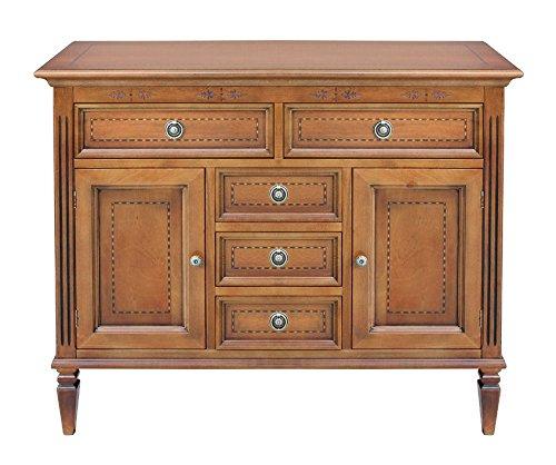 Anrichte mit Einlegearbeit 2 Türen 5 Schubladen, Anrichte aus Holz im klassischen Stil Made in Italy. Buffetschrank aus Holz mit starker Struktur schon montiert NEU aus Italien.