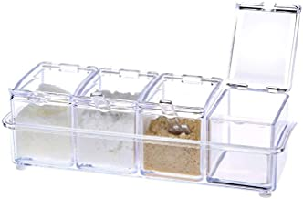 SPNEC Transparent Seasoning Box, 4 Grid Seasoning Jar Kitchen Household Seasoning Bottle Seasoning Box Storage Box