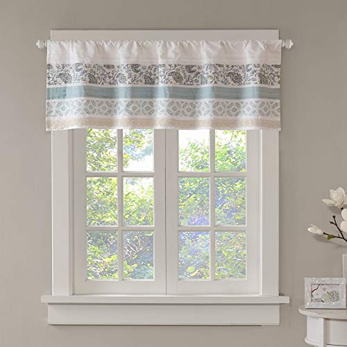 Dawn Printed Blue Window Valance , Cotton Pieced Rod Pocket Print Floral Valances for Windows , 50X18' , Teal