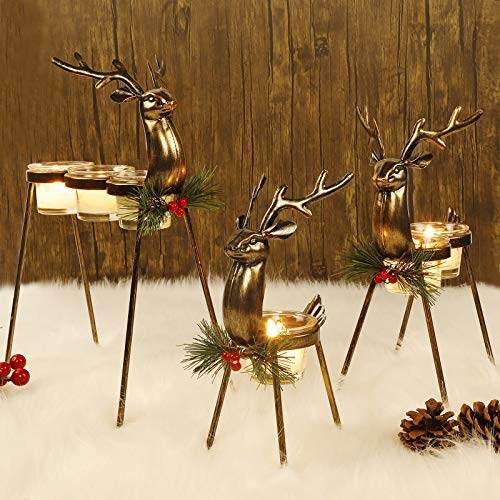 FORUP 3 Pack Metal Reindeer Tea Light Candle Holders, Glass Votive Candle Holders, Christmas Reindeer Metal Candle Holders, Christmas Table Decorations for Home