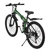 Mountain Bike 26' Wheels Full Suspension Bicycle Shimano 21 Speed Folding Bike Non-Slip for Women Men's MTB Bicycle-Green