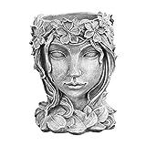 Lucakuins Retro Goddess Statue Succulent Flowerpot, Portrait Sculpture Art Plant Flower Pot Indoor Outdoor Potted Planting Container, Home Decoration Resin Crafts (Grey)