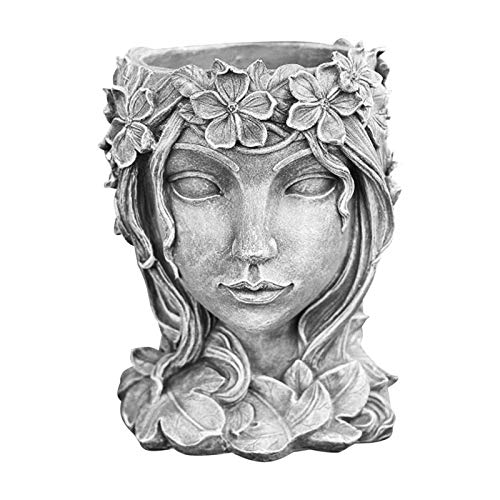 Luckykey Retro Goddess Statue Succulent Flowerpot, Portrait Sculpture Art Plant Flower Pot Indoor Outdoor Potted Planting Container, Home Decoration Resin Crafts (Grey)