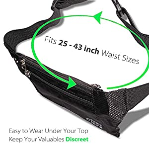 fitter's niche Slim Fanny Pack for Man Woman, 3 Individual Pockets Water Resistant Travel Waist Bag, Elastic Adjustable Belt Lightweight, Fits Phones Up to 6.7in for Women & Men, Family kids Field Trip Outdoor Indoor Sport
