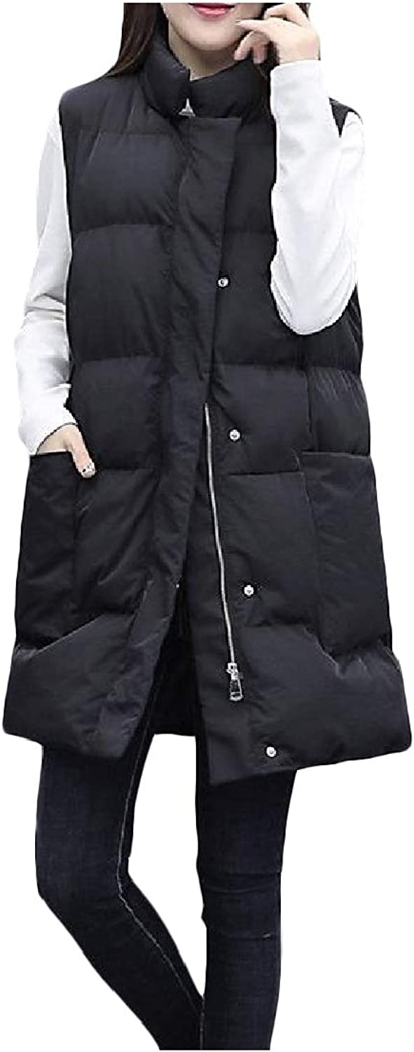 color&W Women's Silm Fit Waistcoat Winter Quilted Long Plus Size Pea Coat Jacket