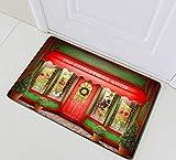 Punk family Tienda de Navidad Guirnalda de árbol de Navidad Alfombra de baño Alfombra de Puerta Alfombrilla Antideslizante Alfombra de Entrada Interior Niños 40X60CM Accesorios de baño