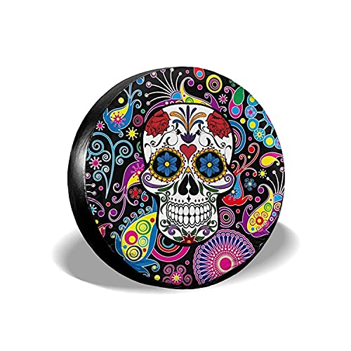 Paisley Flower Skull - Cubierta universal para llantas de repuesto, protectores de llantas impermeables a prueba de polvo para Jeep, remolques, vehículos recreativos, SUV y camiones, 14 pulgadas