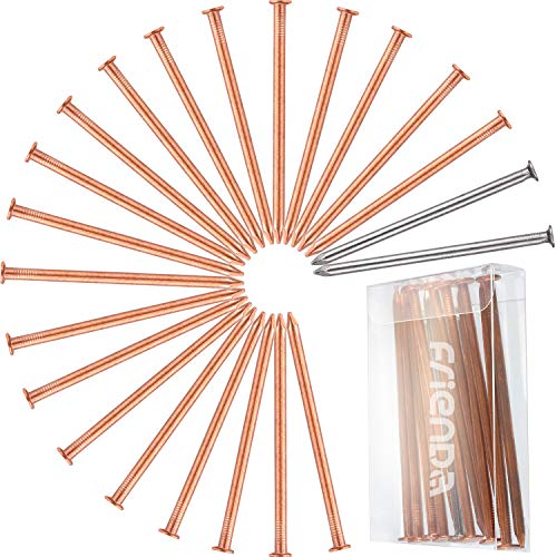 Frienda 20 Pieces Large Copper Nails 3.5 Inch (89 mm) Long Nail Spikes for Killing Tree, Stump Removal Spikes with 2 Pieces 3.5 Inch Large Steel Nails, Included Storage Box