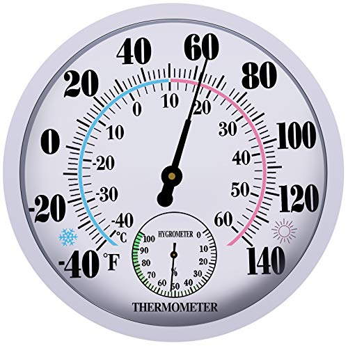 """Indoor Outdoor Thermometer Wireless - Garden Wall Thermometer Hygrometer for Patio, Large Number Thermometer - No Battery Needed Hanging Decorative Hygrometer Round 10"""" in Diameter (White)"""