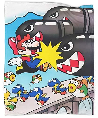 Manta de felpa súper suave y lujosa, diseño de Super Mario World, ultra lujosa, cálida y acogedora para todas las estaciones 40 x 50 pulgadas