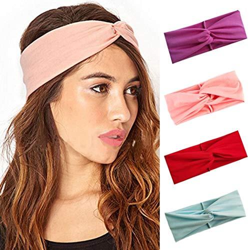 IYOU Bandeaux Criss à la mode Yoga Bandeau élastique rose Sport Bandes à cheveux larges Noués Bandeaux extensibles pour les femmes et les filles (pack de 3)