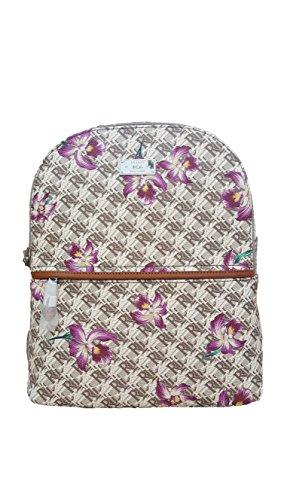 Lauren Ralph Lauren Belknap Faux Leather Backpack (One Size, Natural/White/Orchid)