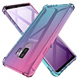 Galaxy S9 Plus Case Clear Cute Gradient Shockproof Bumper Protective Cell Phone Back Cover for Samsung Galaxy S9+ Soft TPU Skin for Women Girls Flexible Slim Fit Rubber Silicone Gel Case (Pink/Green)