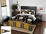 Pittsburgh Steelers NFL Queen Comforter & Sheet Set + Bonus Pennant Flag (5 Piece Bed in A Bag)
