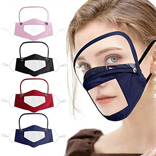 Gokeop 4Pcs Face Coverage with Eye Protection, Clear Face Covering Window Visible Expression for Adult and Children, Removable Face Protective Eye Shield