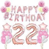 KUNGYO Decoraciones de Feliz Cumpleaños 22 Oro Rosa Happy Birthday Bandera - Gigante Número 22 Helio Globos, Cintas, Flores de Papel Pom, Globos de Látex