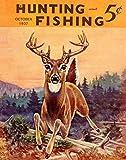 Cartel de portada de revista Whitetail Deer con arco de caza y pesca, estilo retro, para decoración de pared, cartel de metal, 20,3 x 30,5 cm