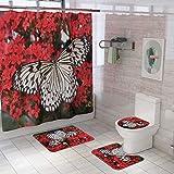 Vlejoy Creativa Mariposa Impresión Impermeable Cortina De Ducha Alfombra Antideslizante Combinación Baño Aseo Set 4 Piezas