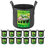 Delxo 12-Pack 7 Gallon Grow Bags Heavy Duty Aeration Fabric Pots Thickened Nonwoven Fabric Pots Plant Grow Bags
