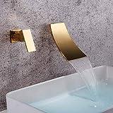 BDWS Grifo de cascada de bronce natural negro, mezclador de lavabo, grifo de...