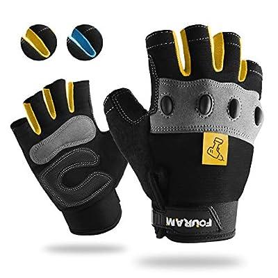 Work gloves Men Fingerless Mechanic Gloves Shock-Grip, Anti-Collision FOUR-AM For Men Women(Yellow, Large)