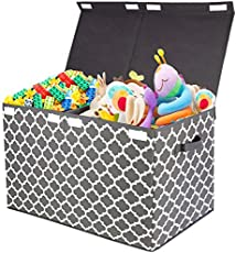 """Kids Large Toy Chest with Flip-Top Lid, Decorative Holders Collapsible Storage Box Container Bins for Nursery, Playroom, Closet, Home Organization, 24.5\\""""x13\\"""" x16\\"""" (Grey)"""