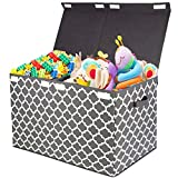 Kids Large Toy Chest with Flip-Top Lid, Decorative Holders Collapsible Storage Box Container Bins for Nursery,...