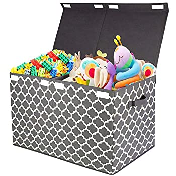 Kids Large Toy Chest Box with Flip-Top Lid Decorative Holders Collapsible Storage Bins Container for Nursery Playroom Closet Home Organization 24.5 x13  x16   Grey