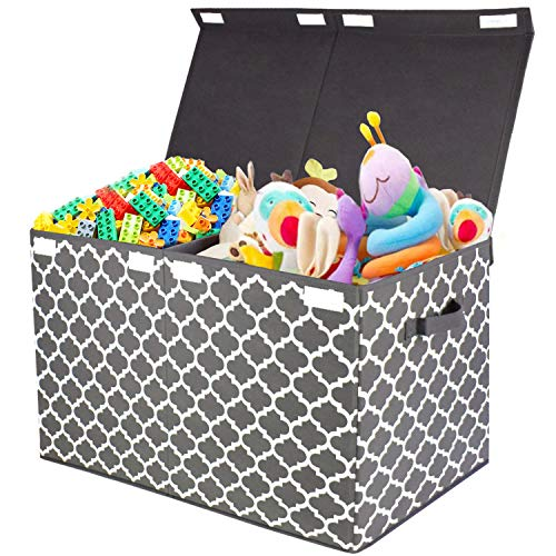 Kids Large Toy Chest with Flip-Top Lid, Decorative Holders Collapsible Storage Box Container Bins for Nursery, Playroom, Closet, Home Organization, 24.5'x13' x16' (Grey)