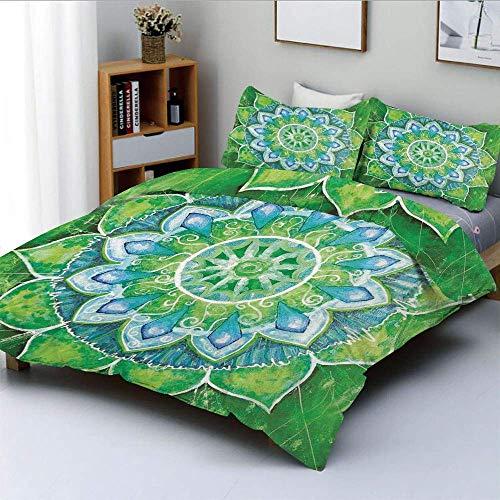 Juego de funda nórdica, Grand Mandala con formas de hojas Símbolo de la naturaleza y el tema Zen Verde Boho Style Print DecorativeDecorative Juego de cama de 3 piezas con 2 fundas de almohada, azul ve