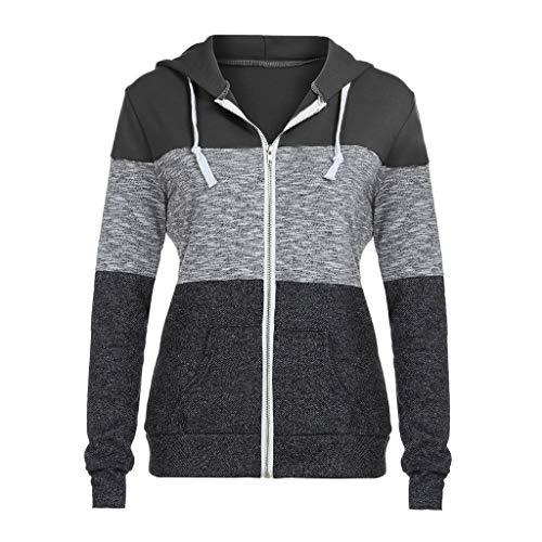 Damen kolylong jacke mit kapuze zip sweatshirthoodie mantel freizeit sport outwear hoodys blacka