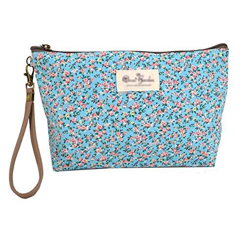 Milya Canvas Kosmetiktasche Clutch Schminktasche Abendtasche Partytasche Damen Rose-Muster (blau)